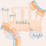 Birthday card template with old-fashioned toy wagon Stock Images