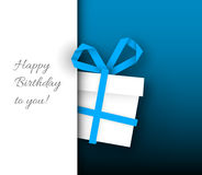 Birthday card template. Vector minimalist Birthday card template with paper gift box and place for your text / wish royalty free illustration