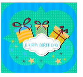 Birthday card. With three gifts on blue and green background Stock Photography