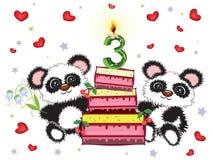 Birthday card ,three years Stock Photo