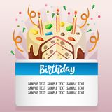 Birthday card with topping tart. Template of birthday card with topping tart Stock Image