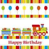 Birthday card with train Royalty Free Stock Images