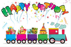 Birthday card-02. Birthday card with train and big gift Vector Illustration