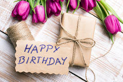 Birthday card and tulip bouquet Royalty Free Stock Image