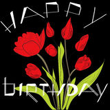 Birthday card with tulips Royalty Free Stock Photos
