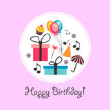 Birthday card with various objects Stock Photos