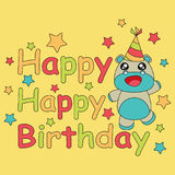 Birthday card vector cartoon with cute baby hippo and stars on yellow background suitable for children birthday postcard Royalty Free Stock Photography