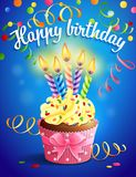 Birthday card. Vector illustrtion - birthday card with cupcake and candles Royalty Free Stock Images
