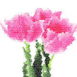 Birthday card with vector mosaic tulips Stock Image