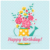 Birthday card with watering can and flowers Stock Photo