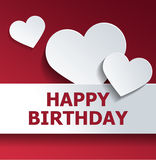 Birthday Card with White Heart Cut Outs on Red Stock Image
