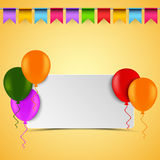 Birthday card with white sign balloons and flags Royalty Free Stock Photography