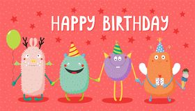 Free Birthday Card With Cute Funny Monsters Stock Photo - 107870340