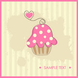 Birthday Card With Pink Cupcake. Vector Illustrati Royalty Free Stock Image