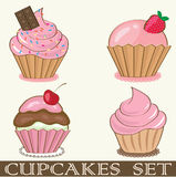 Birthday Card With Strawberry Cupcake. Royalty Free Stock Photo