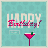 Birthday card for woman with cocktail drink Royalty Free Stock Photo