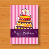 Birthday card on wood background. Illustration of Birthday card on wood background Royalty Free Stock Photography