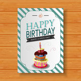 Birthday card on wood background Royalty Free Stock Photography