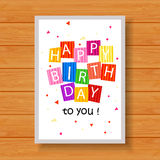 Birthday card on wood background. Illustration of Birthday card on wood background Stock Image