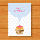 Birthday card on wood background. Illustration of Birthday card on wood background vector illustration