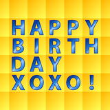 Birthday card-yellow squares Stock Photo