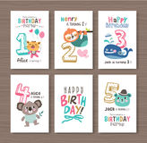 Birthday cards. With birthday anniversary number and cute animals vector illustration