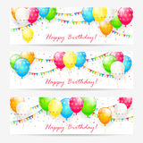 Birthday cards with balloons and confetti Stock Image