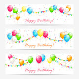 Birthday cards with balloons. Birthday cards with multicolored balloons, streamers, holiday pennants and confetti, illustration royalty free illustration