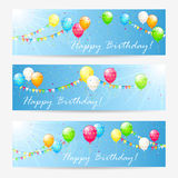 Birthday cards with balloons and tinsel Stock Photo