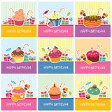 Birthday cards big collection Stock Image