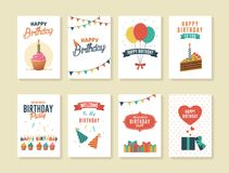 Set of Birthday Greeting and Invitation Cards. Birthday cards with cakes, balloons, and gift boxes illustration stock illustration