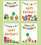 Birthday anniversary card with cute owls Stock Image