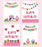 Birthday cards with in pink color. Birthday cards with cute owls. Vector editable templates for party invitation or postcard in pink color Stock Images