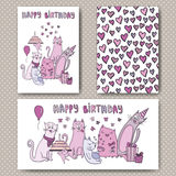 Birthday cards design with funny cats. And hearts. Vector design template for card, letter, banner, menu. Floral wedding pattern under mask Stock Images