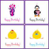 Birthday cards set Royalty Free Stock Photos