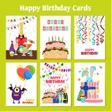 Birthday cards set. Birthday cards with cake, presents and cute monster, vector illustration stock illustration