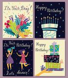 Birthday cards set. Bouquet of flowers in hand. Birthday cake with candles and congratulations lettering. Two girls dance in dresses at the birthday party royalty free illustration