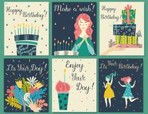 Birthday cards set. Birthday cake with candles and congratulations lettering. Girl making a wish. Hand with gifts and wishes of happiness. Bouquet of flowers vector illustration