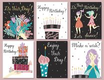 Birthday cards set stock illustration