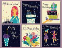 Birthday cards set royalty free illustration