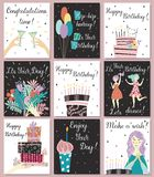 Birthday cards set stock image