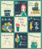 Birthday cards set royalty free stock photos