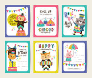 Birthday cards. Set of birthday cards with circus theme vector illustration