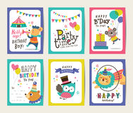 Birthday cards. Set of birthday cards with circus theme royalty free illustration