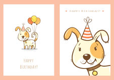 Birthday cards set. Birthday cards set with cute cartoon dogs. Balloons and party hats. Vector contour image. Little puppies. Funny animals Stock Images