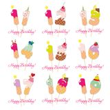 Birthday cards set. Festive sweet numbers from 11 to 19. Coctail straws. Funny decorative characters. Vector. Illustration stock photos