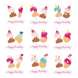 Birthday cards set. Festive sweet numbers from 21 to 29. Coctail straws. Funny decorative characters. Vector. Illustration Royalty Free Stock Photos