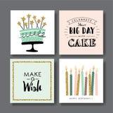 Birthday cards. Set of birthday greeting cards design royalty free illustration