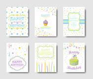 Birthday cards set. Happy Birthday cards set. Greetings with cute decorations stock illustration