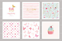 Birthday cards set for teenage girls. Including seamless patterns in pastel pink. Sweet 16, butterflies, cupcake, polka. Dots, Eiffel tower, stripped. Vector Royalty Free Stock Images